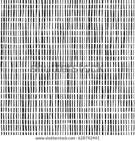 Vector Seamless Black And White Irregular Dash Rectangles Grid Pattern. Trendy Monochrome Texture. Stock photo © samolevsky