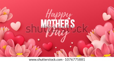 Happy Mothers Day beautiful greeting card. Bright vector illustration with embroidery colorful trend Stock photo © sanyal