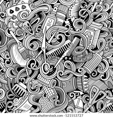 Hair Salon hand drawn doodles seamless pattern. Hairstyle background. Stock photo © balabolka