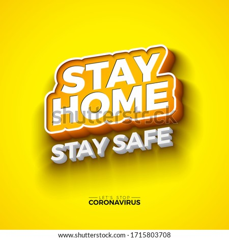 Stay Home Stop Covid 19 Coronavirus Design With Ed Typography Letter On Yellow Background Vector 2 Stock photo © articular