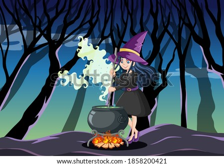 Young beautiful witch with black magic pot cartoon style isolate Stock photo © bluering