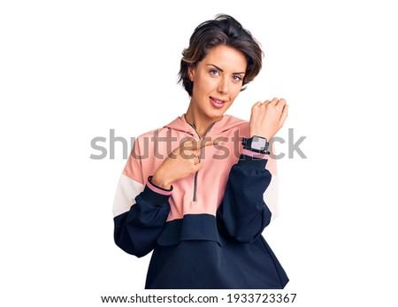 Obraz kobieta odzież sportowa patrząc Zdjęcia stock © deandrobot