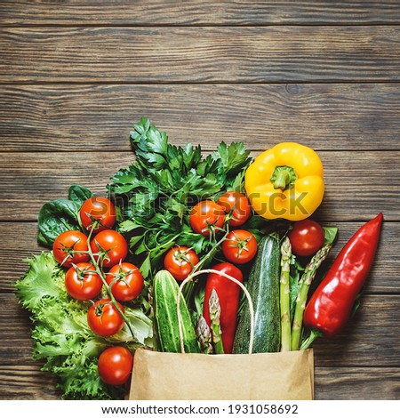 Different vegetables in reusable bags on wooden background. Zero waste concept BANNER, LONG FORMAT Stock photo © galitskaya
