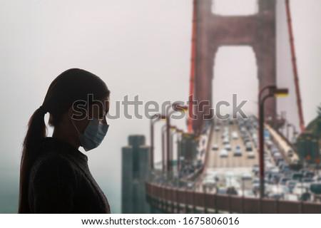 コロナウイルス カリフォルニア 女性 外科手術用マスク ウイルス 保護 ストックフォト © Maridav