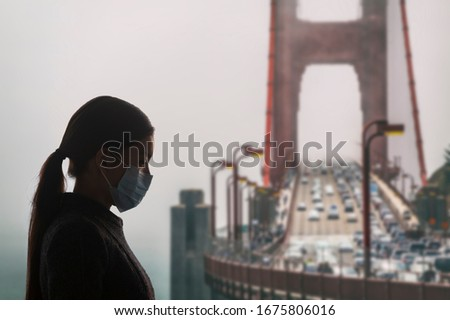 Coronavírus Califórnia mulher máscara cirúrgica vírus proteção Foto stock © Maridav