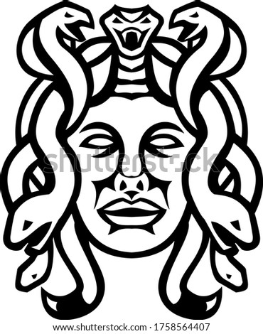 Head of Medusa Greek Goddess Front View Mascot Black and White Stock photo © patrimonio