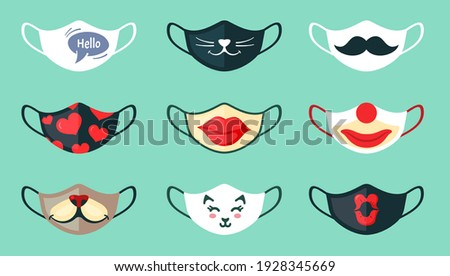 Medical protective black mask with red lips on white background, Prevent Coronavirus, protection fac Stock photo © Natalia_1947