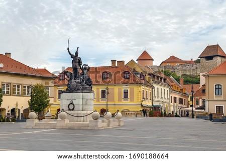 Monument Of Istvan Dobo Eger Hungary Stockfoto © Borisb17