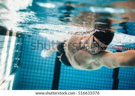 Swim sport athlete swimmer swimming in pool training for race. Professional male watersport adult wo Stock photo © Maridav