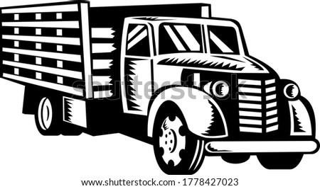 Classic American Pickup Truck with Wood Side Rails Front Retro Woodcut Black and White Stock photo © patrimonio