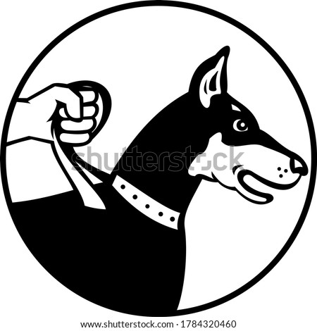 Dobermann Doberman Pinscher or Dobie on Leash Side View Retro Black and White Stock photo © patrimonio