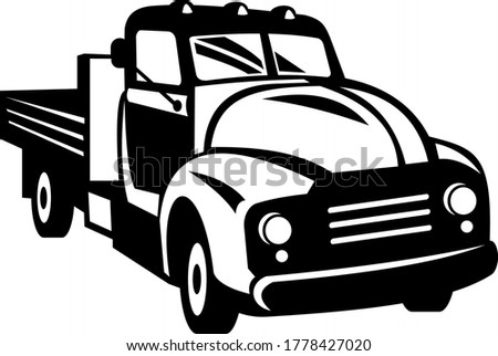 Vintage American Pickup Truck with Wood Side Rails Front Retro Woodcut Black and White Stock photo © patrimonio