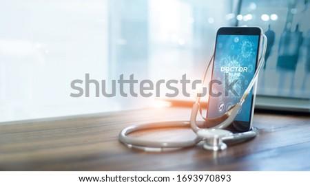 Mobiele telefoon stethoscoop diagnose dienst objecten geïsoleerd Stockfoto © borysshevchuk