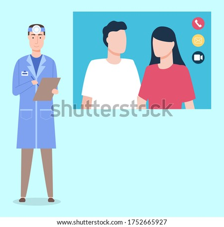 Doctor ent communicating with couple of patients through videocall, otolaryngologist making notices Stock photo © robuart