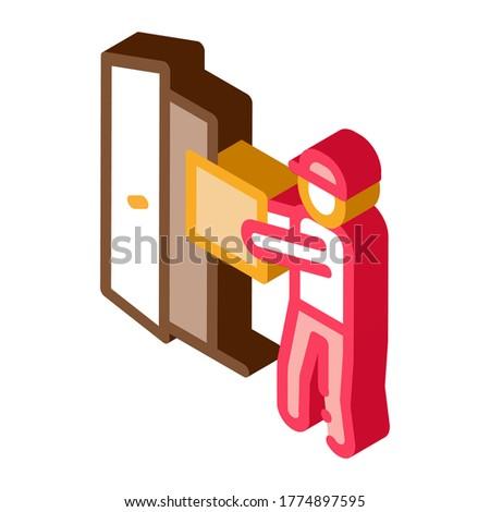 курьер окна двери изометрический икона вектора Сток-фото © pikepicture