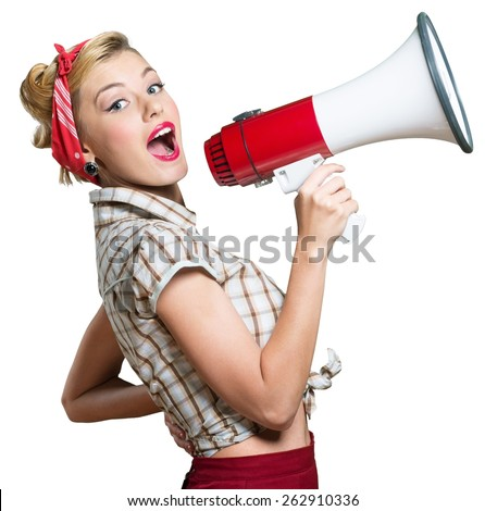 Studio shot of woman shouting into a megaphone and holding up store bags Stock photo © photography33