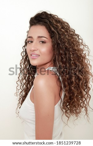 Stock fotó: Boldog · mosolyog · lány · modell · egészséges · hosszú