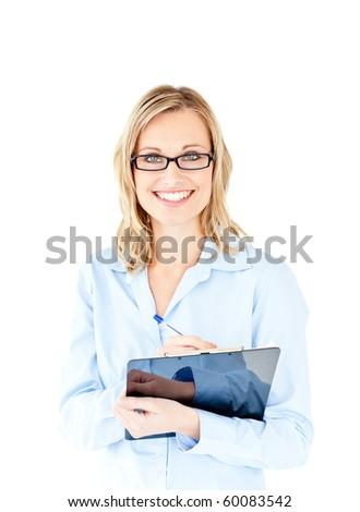 Stockfoto: Positief · zakenvrouw · witte · vrouw