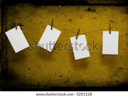 Stock photo: Photo paper attach to rope with clothes spins on grunge  background/ Valentine theme