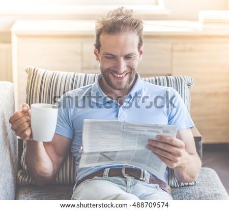 retrato · empresario · lectura · noticias · taza - foto stock © wavebreak_media