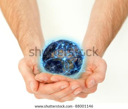 férfias · kezek · tart · 3D · bolygó · földgömb - stock fotó © wavebreak_media