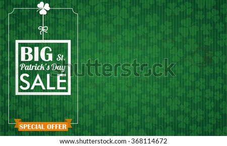 big striped shamrock in green old paper background with flowers Stock photo © marinini