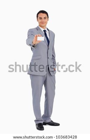 Man tonen visitekaartje witte werk lichaam Stockfoto © wavebreak_media