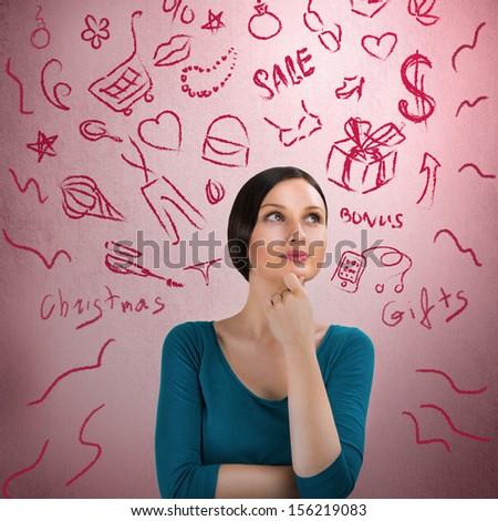 Stock fotó: Gyönyörű · fiatal · nő · álmodozás · rózsaszín · retro · grunge