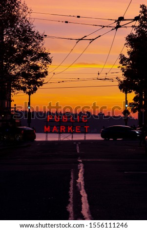 Pike PLace Public Market Sign Over Puget Sound Seattle Washingto Stock photo © cboswell