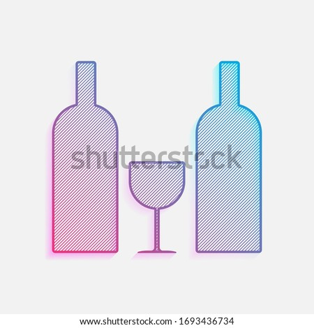 Bottle of alcoholic drink on colorful strips- logo for beverage Stock photo © shawlinmohd