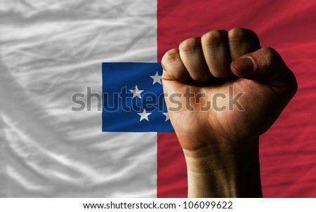 Complete Waved National Flag Of Of Franceville For Background Foto stock © vepar5