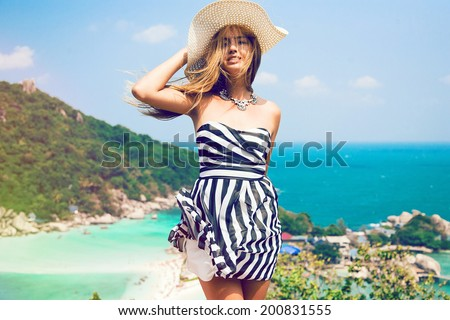 великолепный · счастливым · блондинка · позируют · пляж - Сток-фото © victoria_andreas