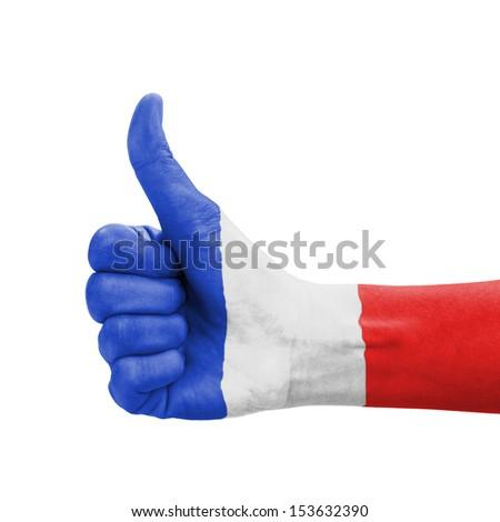 フランス フラグ 親指 アップ ジェスチャー 卓越 ストックフォト © vepar5