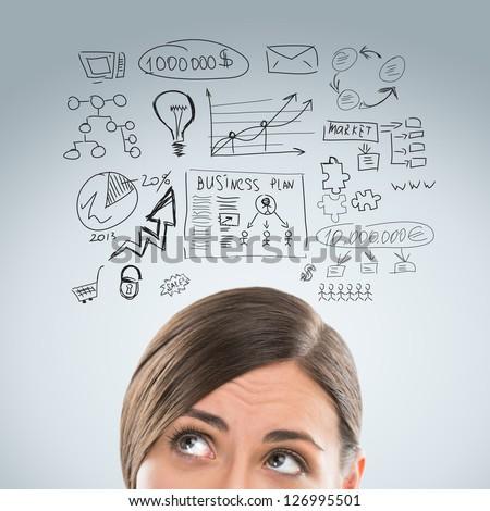 Photo stock: Jeunes · femme · d'affaires · pense · plans · visage