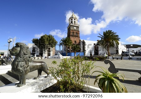 Teguise, Lanzarote, Canary Island, Church Iglesia de Nuestra Sen Stock photo © meinzahn