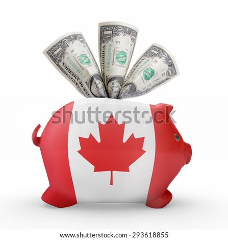 bankrupt piggy rich bank in colors of national flag of trinidad stock photo © vepar5
