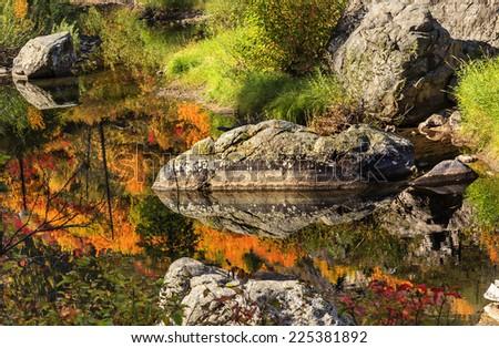 осень · огня · оранжевый · красный · цветами · отражение - Сток-фото © billperry