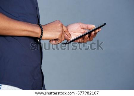 kezek · tart · tabletta · üzletember · digitális · közelkép - stock fotó © deandrobot