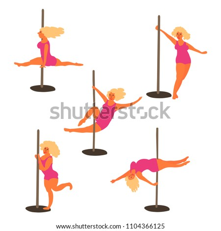 Attractive slim Pole dance girl with blond hair  posing on the f Stock photo © Victoria_Andreas