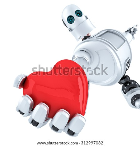 robot holds heart in his hand isolated contains clipping path stock photo © kirill_m