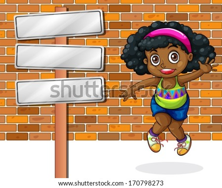A girl jumping in front of the stonewall beside the empty signbo Stock photo © bluering