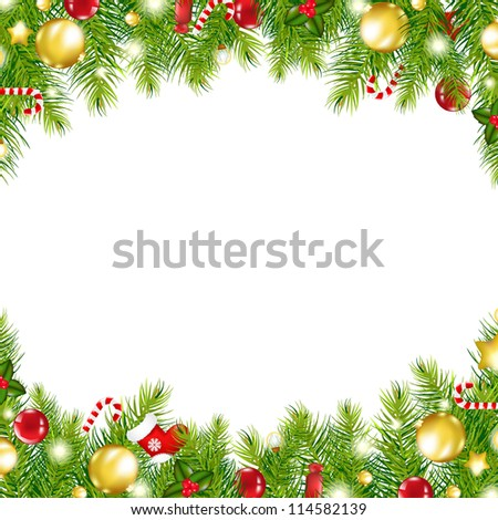 Christmas holiday border with evergreen branches and candy canes Stock photo © tab62