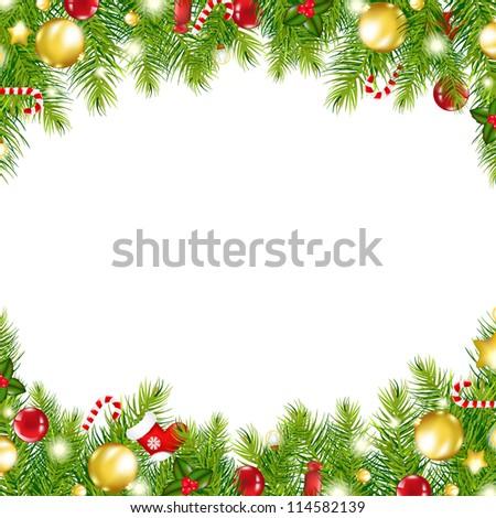 fenyőfa · vízszintes · keret · tél · terv · csoport - stock fotó © tab62