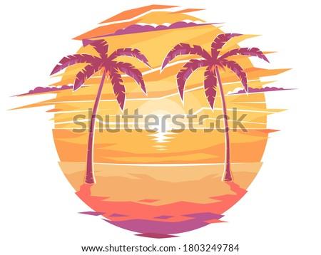 лет романтические ночь Тропический остров пальмами иллюстрация Сток-фото © orensila