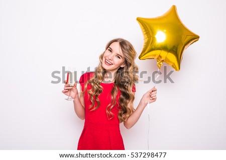 boldog · nő · estélyi · ruha · áll · csillag · alakú - stock fotó © deandrobot