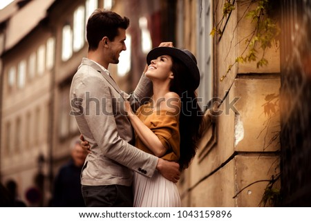 Belo elegante casal posando juntos caucasiano Foto stock © NeonShot