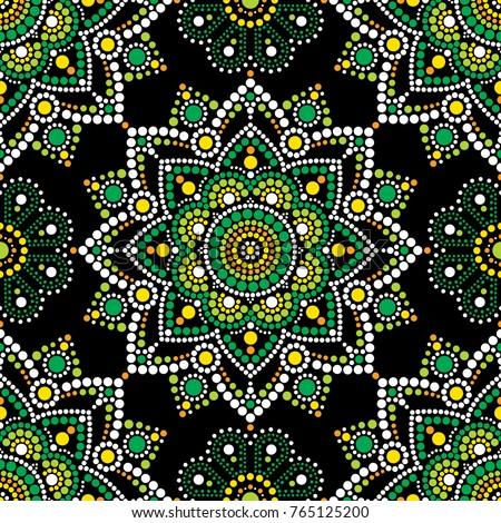 mandala vector seamless pattern aboriginal dot painting design australian folk art boho style repe stock photo © redkoala