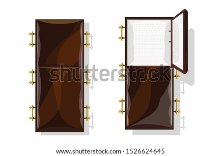 Open coffin and Deceased. Wooden casket and corpse. vector illus Stock photo © MaryValery