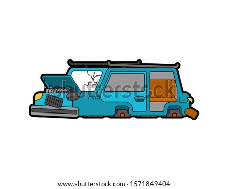 Car broken isolated. Auto and Blown wheels. shattered glass. Vec Stock photo © MaryValery
