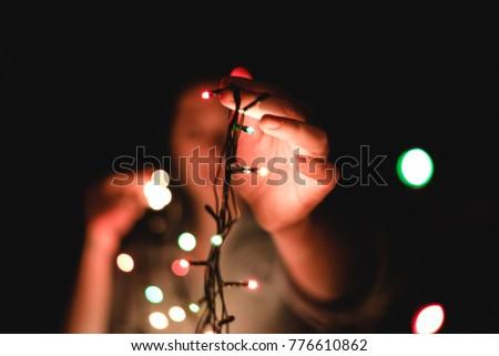 kadın · Noel · ışık · çelenk · portre · genç - stok fotoğraf © artjazz